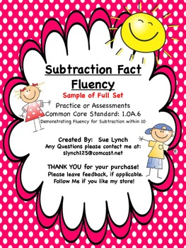 Subtraction Fact Fluency within 10 Assessment FREEBIE from full set CCSS 1.OA.6