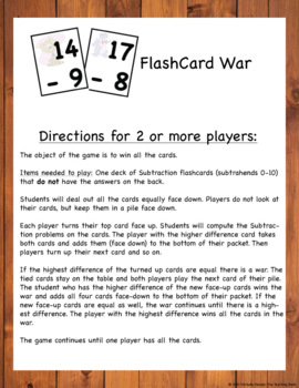 Subtraction Fact Games and Flash Cards