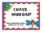 Subtraction Facts Difference to 18 I Have...Who Has? Game