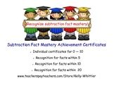 Subtraction Fact Mastery Achievement Recognition Certificates