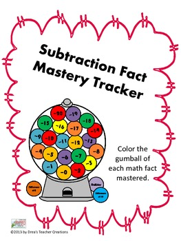 Subtraction Fact Mastery Tracker