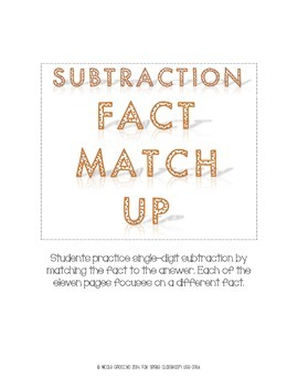 Subtraction Fact Match Up