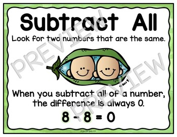 Subtraction Fact Strategies Anchor Wall Charts