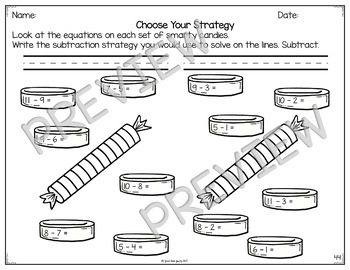 Subtraction Fact Strategy Bundle of Anchor Charts, Flashcards, Worksheets