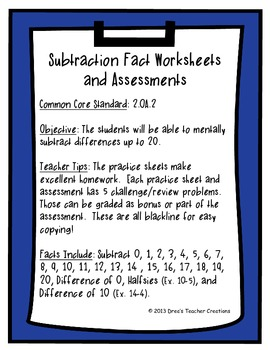 Subtraction Fact Practice Worksheets and Assessments
