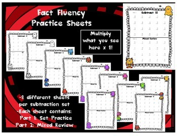 Subtraction Fact Practice Drills and Quizzes by Set with Cumulative Review