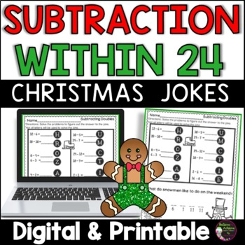 Subtraction Fact Practice with Christmas Jokes