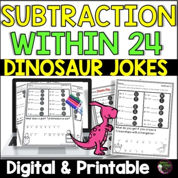 Subtraction Fact Practice with Dinosaur Jokes