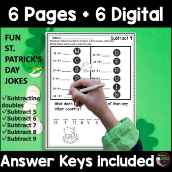 Subtraction Fact Practice with St. Patrick's Day Jokes