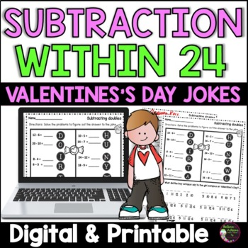 Subtraction Fact Practice with Valentine Jokes