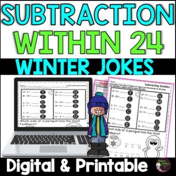 Subtraction Fact Practice with Winter Jokes