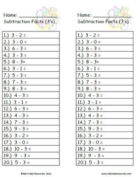 Subtraction Fact Quizzes