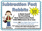 Subtraction Fact Rabbits  A Basic Facts Center with Differences 18 or Less