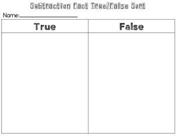 Subtraction Fact Sort