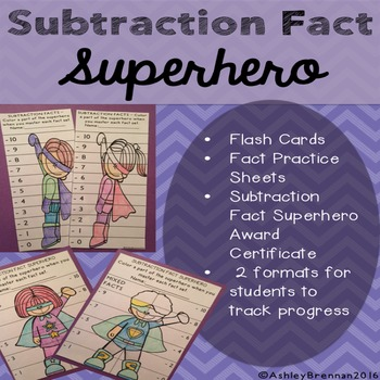 Subtraction Fact Superhero-Fact tracking system - flash cards practice sheets
