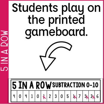 Subtraction Facts 0-10 5 in a Row: 3 No Prep Games & Powerpoints