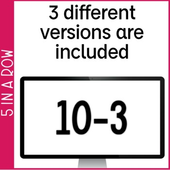 Subtraction Fact Fluency 0-10 5 in a Row: 3 No Prep Games & Powerpoints