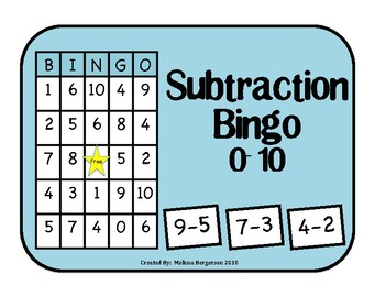 Subtraction Facts 0-10 Bingo