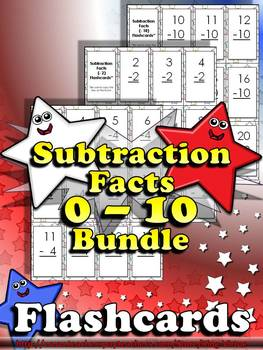 Subtraction Facts (0 - 10) Flashcards - BUNDLE - King Virtue