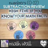 Subtraction Facts (0-12)  - High-Five Math Wall