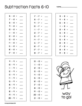 FREEBIE!! Subtraction Facts 1-10 Print and Go!