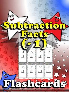 Subtraction Facts (- 1) Flashcards - King Virtue