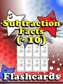 Subtraction Facts (- 10) Flashcards - King Virtue