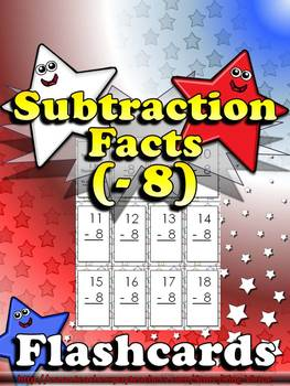Subtraction Facts (- 8) Flashcards - King Virtue