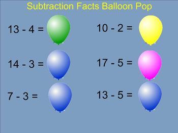 Subtraction Facts Balloon Pop - Smartboard