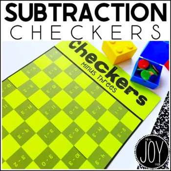 Subtraction Facts Checkers Game for Math Centers and Math