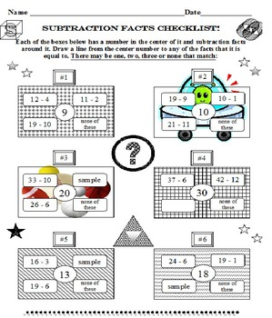 Subtraction Facts Checklist 100 Facts