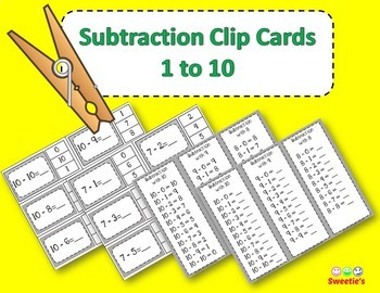 Subtraction Facts Clip Cards for 1 to 10