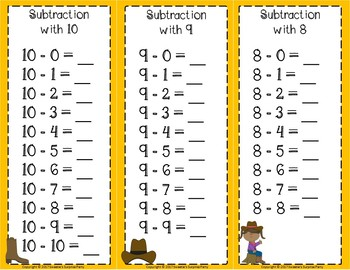 Subtraction Facts Clip Cards for 1 to 10 - COWBOYS