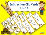 Subtraction Facts Clip Cards for 1 to 10 - Cowboy Theme
