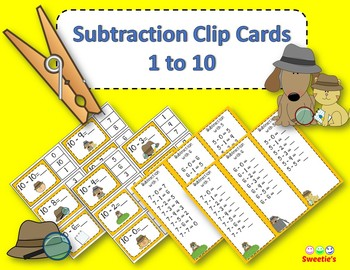 Subtraction Facts Clip Cards for 1 to 10 -  Detective Theme
