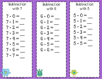 Subtraction Facts Clip Cards for 1 to 10 -  MONSTERS