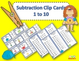 Subtraction Facts Clip Cards for 1 to 10 -  Ocean Theme