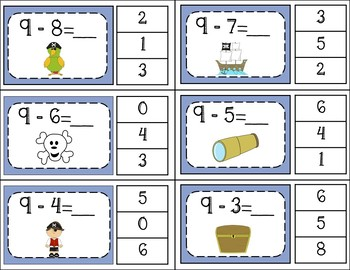 Subtraction Facts Clip Cards for 1 to 10 -  PIRATES