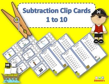 Subtraction Facts Clip Cards for 1 to 10 -  Pirate Theme