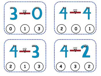 Subtraction Facts Clothespin Task Cards