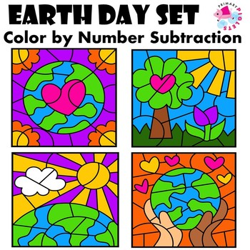 Subtraction Facts Color by Number Earth Day Edition