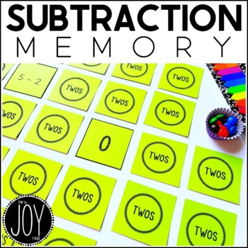 Subtraction Facts Concentration - 13 Different Games Separated by Number Sets
