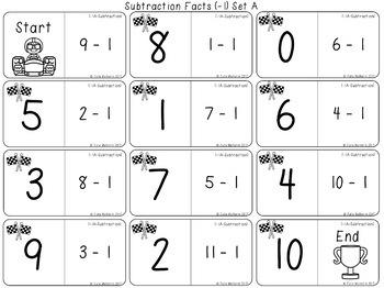 Subtraction Fact Practice Domino Races