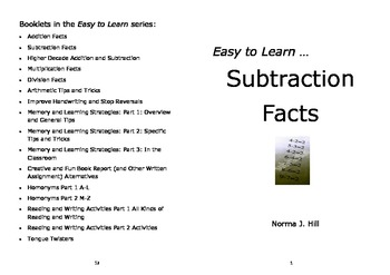 Subtraction Facts - Easy to Learn Series