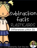 Subtraction Facts Flash Cards - Differences within 20