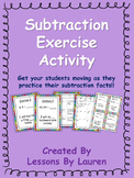 Subtraction Facts Fluency Exercise Activity/Task Cards- Kinesthetic Learning!
