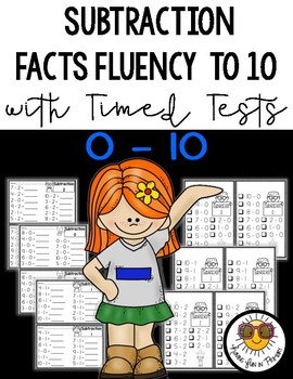 Subtraction Facts Fluency to 10 Practice and Timed Tests
