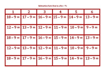 Subtraction Facts Four in a Row 9's
