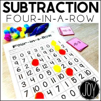 Subtraction Facts Four in a Row Game for Math Centers or M