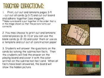 Subtraction Facts Hidden Picture Game